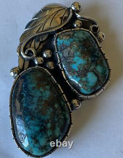 Vintage Signed Navajo Sterling Silver Tyrone Turquoise Pin/Pendant