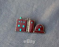 Vintage Signed Silver Pipestone Turquoise Inlay Pueblo Oven House Pin Pendant