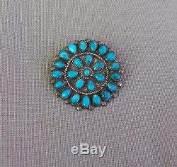 Vintage Silver Native American Turquoise Cluster Pin Signed AB