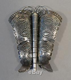 Vintage Silver Navajo Butterfly Pin, beautiful ornate stamping