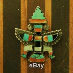 Vintage Southwest Zuni Wingman Pin Sterling Old Pawn