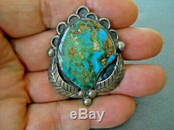 Vintage Southwestern Native American Turquoise Sterling Silver Pendant Pin