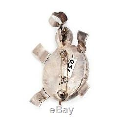 Vintage Sterling 925 Silver Native Navajo BENNY RATION Turtle Pin Brooch Pendant
