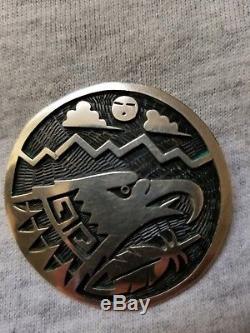 Vintage Sterling Hopi Eagle And Kachina Pendant Or Pin