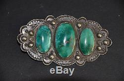 Vintage Sterling Navajo Pin Bisbee Turquoise With Sterling Neckchain