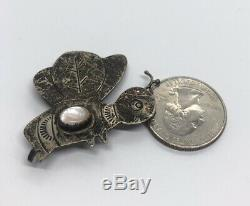 Vintage Sterling Silver Brooch Pin 925 Native American Shell Animal Butterfly