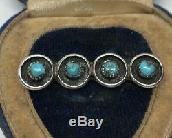 Vintage Sterling Silver Brooch Pin 925 Native American Snake Eye Turquoise Bar