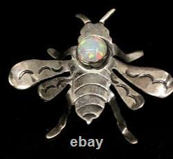 Vintage Sterling Silver Brooch Pin 925 Opal Running Bear Bee Native American