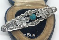 Vintage Sterling Silver Brooch Pin 925 Turquoise Native American Bird Bar