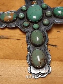 Vintage Sterling Silver Cross Native American art Cross Pin Necklace signed AJB