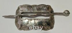 Vintage Sterling Silver Hair Pin / Bun Holder / Hair Ornament