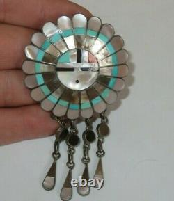 Vintage Sterling Silver J. D. Massie Zuni Sun Face Brooch Pin Jewelry (id450)