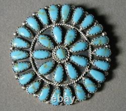 Vintage Sterling Silver LARRY MOSES BEGAY Turquoise Pin Pendant #J3540