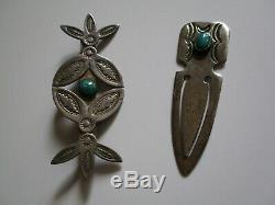 Vintage Sterling Silver Native American Indian Navajo Turquoise Money Clip Pin