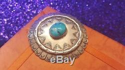 Vintage Sterling Silver Native American Pin Brooch Rare Morenci Turquoise Navajo