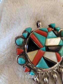 Vintage Sterling Silver Native American Victor Moses Begay Navajo Pin Pendant