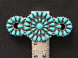 Vintage Sterling Silver Native Zuni Old Pawn Turquoise Brooch 4 34 Grams EUC