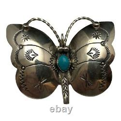 Vintage Sterling Silver Navajo Turquoise Signed Butterfly Native Pin Pendant