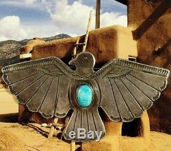 Vintage Sterling Turquoise Thunderbird Pin