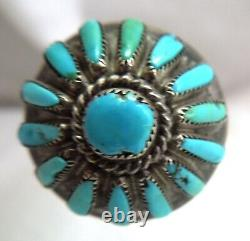 Vintage Sterling Turquoise ZUNI HAIR STICK / Pin 4.5 Inch Needlepoint