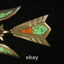 Vintage Tommy Singer Sterling silver 925 chip inlay peyote water Bird Pin Brooch