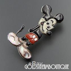 Vintage Unique Zuni Sterling Silver Gemstone Inlay Mickey Mouse Pin Pendant