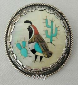 Vintage ZUNI Leonard Lonjose QUAIL Pendant Brooch Pin-Signed
