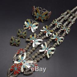 Vintage ZUNI Sterling Silver BUTTERFLY INLAY SET Necklace Bracelet Pin Earrings