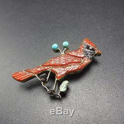 Vintage ZUNI Sterling Silver CORAL INLAY Turquoise & Jet PIN/BROOCH Red Cardinal