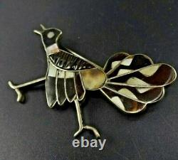 Vintage ZUNI Sterling Silver ROADRUNNER PIN/BROOCH Brown and White SHELL