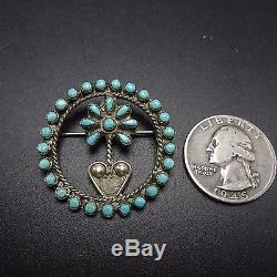 Vintage ZUNI Sterling Silver & TURQUOISE Snake Eye Petit Point PIN/BROOCH Flower