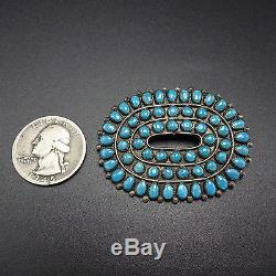 Vintage ZUNI Sterling Silver & Turquoise Petit Point PIN/BROOCH Snake Eyes