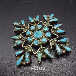 Vintage ZUNI Sterling Silver & Turquoise Petit Point SNOWFLAKE PIN/BROOCH