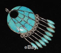 Vintage Zuni Annie Quam Gasper Sterling Silver Turquoise Pin & Pendant pre-1975