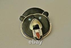 Vintage Zuni Bear Fetish Stone Inlay Paul Peyketewa Jr Pin Brooch Pendant Signed