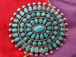 Vintage Zuni Cerrillos Turquoise Cluster Pin 1940's Exquisite