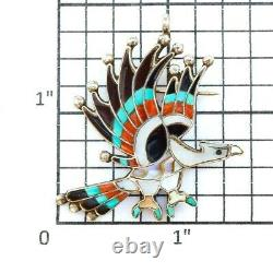 Vintage Zuni Dishta Turquoise Inlay Sterling Silver Eagle Pin Broach Pendant