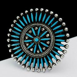 Vintage Zuni F. Pablito Turquoise Sterling Silver Needlepoint Pendant Brooch Pin