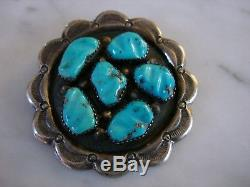Vintage Zuni George & Lupeta Leekity Carved Turquoise Cast Sterling Pendant Pin