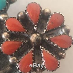 Vintage Zuni Indian Silver Brooch Pendant Flower Pin Turquoise Coral MOP