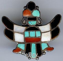Vintage Zuni Indian Silver Inlaid Coral Turquoise Onyx Shell Kinfewing Man Pin