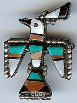 Vintage Zuni Indian Silver Inlaid Coral Turquoise Onyx Thunderbird Pin Brooch