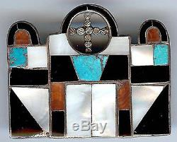 Vintage Zuni Indian Silver Inlaid Turquoise Coral Onyx Mission Church Pin