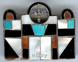 Vintage Zuni Indian Silver Inlaid Turquoise Coral Onyx Mission Church Pin Brooch