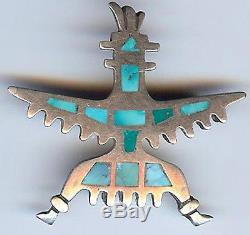 Vintage Zuni Indian Silver Inlaid Turquoise Knifewing Pin