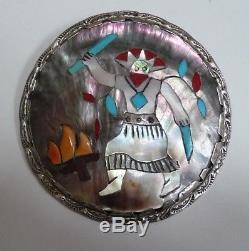 Vintage Zuni Indian Sterling Pin/pendant Apache Fire Dancer Effie Qualo Rare