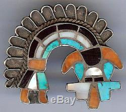 Vintage Zuni Indian Sterling Silver Inlaid Stones Rainbow Man Pin