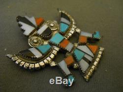 Vintage Zuni Inlay Knifewing Pendant/pin, Hallmarked Signed Alonzo Hustito