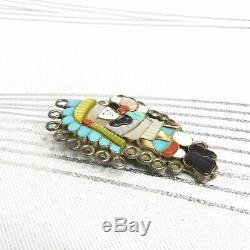 Vintage Zuni LL Sterling Multi-Stone Inlay Rainbow Kachina Dancer Pendant Pin