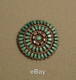 Vintage Zuni Petit Point Turquoise inlay pin brooch pendant Old/dead Pawn